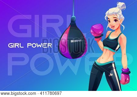 Woman In Boxing Gloves Posing At Punching Bag In Sportswear With Crown Print On Sportive Trousers. G