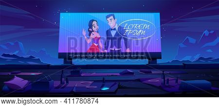 Outdoor Cinema, Open Air Movie Theater With Blankets Seats And Meals On Ground Front Of Large Outdoo