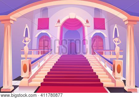 Castle Staircase, Upward Stairs In Palace Entrance With Statues, Red Rag And Wooden Doors, Medieval
