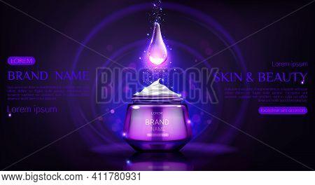 Cosmetics Cream Jar Mock Up Banner With Glowing Falling Drop Of Repair Night Beauty Skin Care Produc