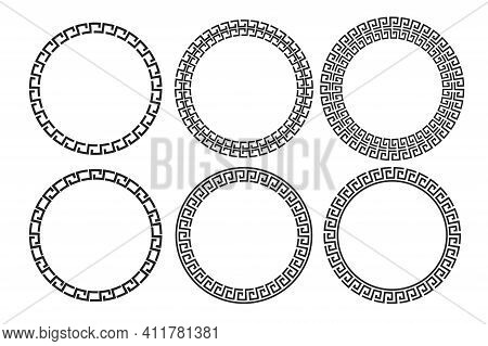 Greek Ornament Circle. Oriental Style Vector Illustration. Seamless Vector Floral Border Design. Rou