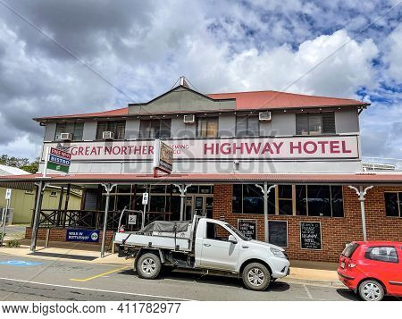 Gin Gin, Australia - February 28, 2021: Facade Of The Highway Hotel, Built In Early 20th Century In