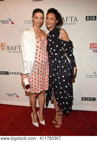 LOS ANGELES - JAN 7:  Angela Sarafyan and Thandie Newton arrives for  BAFTA Los Angeles Tea Party 2017 on January 07, 2017 in Beverly Hills, CA