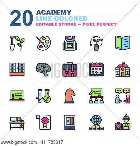 Icon Set Of Academy. Line Color Style Icon Vector. Contains Such Of Agriculture, Class, University,