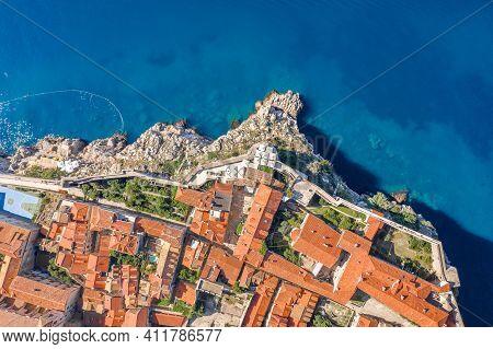 Aerial Overhead View Of Church Of St. Marija In Dubrovnik City Wall By Adriatic Sea In Croatia Summe