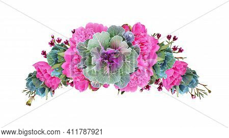 Ornamental Kales And Pink Peony Flowers In A Floral Arch Arrangement Isolated On White Background. D