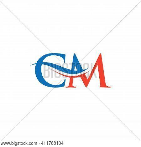 Cm Logo Design Vector. Swoosh Letter Cm Logo Design