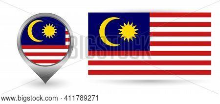 Vector Flag Malaysia. Location Point With Flag Malaysia Inside.