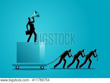 Business Concept Vector Illustration Of A Boss Using Megaphone Ordering His Subordinate To Drag Heav