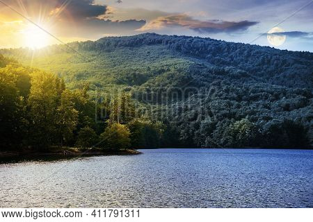 Day And Night Time Change Concept On A Lake Among Beech Forest In Summer. Beautiful Nature Landscape