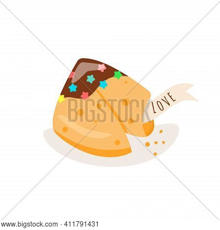 Crisp Cookie With A Blank Piece Of Paper Inside. Vector Illustration