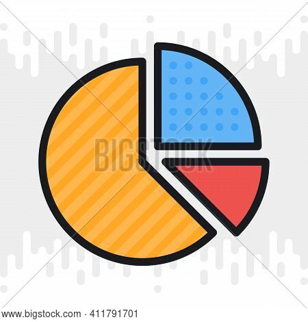 Pie Chart Icon. Simple Color Version On A Light Gray Background