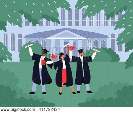 Graduates With Diplomas And Scrolls Near The Educational Institution. Students In Black Dresses And