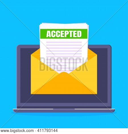 College Or University Acceptance Letter With Laptop Screen, Open Envelope Document Email. Job Employ