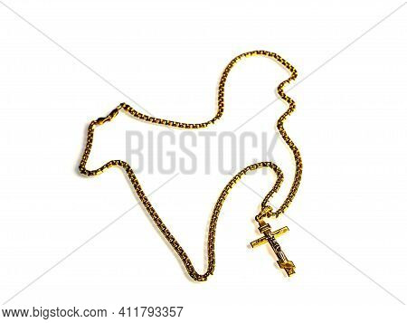 Christian Cross With A Gold Chain On A White Background. Christian Cross. Gold Chain. Orthodox Faith