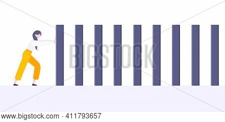 Business Resilience Or Domino Effect Metaphor Vector Illustration Concept. Adult Young Businesswoman