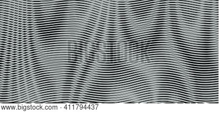 Monochrome Futuristic Abstract Texture With Wavy Shapes With Linear Moire Effect. Background Saver F