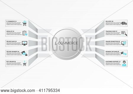 Infographic E-commerce Template. Icons In Different Colors. Include E-commerce, Customer Support, Pa