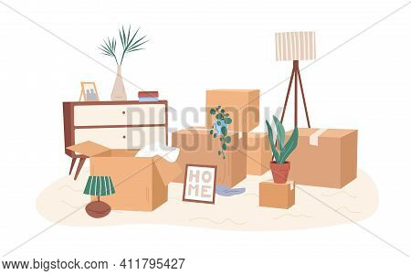 Room With Packed Cardboard Boxes With Personal Stuff, Plants, Home Decoration And Furniture. Relocat