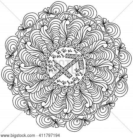 Contour Mandala Zodiac Sign Sagittarius, Zen Antistress Coloring Page With Ornate Patterns Vector Il
