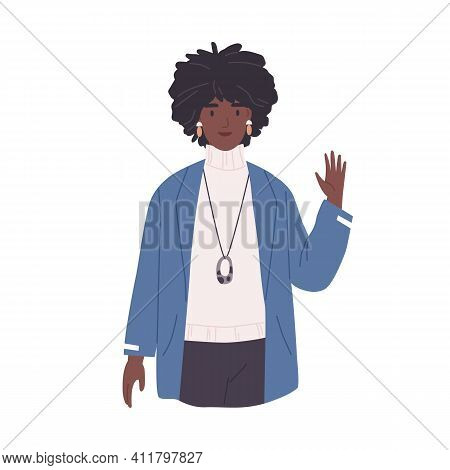 Young African-american Woman Waving With Hand And Saying Hello. Smiling Female Character Gesturing H