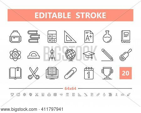 School Supplies 20 Line Icons. Vector Illustration In Line Style. Editable Stroke, 64x64, 256x256, P