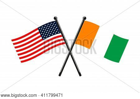 National Flags Of Ivory Coast And Usa Crossed On The Sticks In The Original Colours