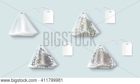 Tea Bags With Green And Black Leaves And Herbs. Vector Realistic Set Of Transparent Triangle Teabags