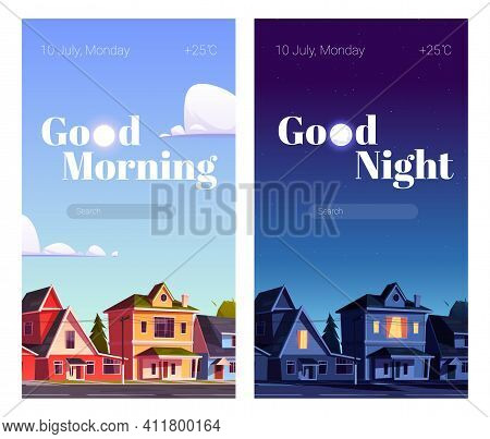 City Street With Houses At Night And Morning. Vector Template For Mobile Phone Screensaver With Time