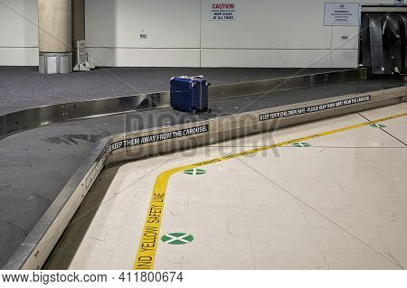 Brisbane Airport, Queensland, Australia - March 2021: Traveling Carousel For Luggage Collection For