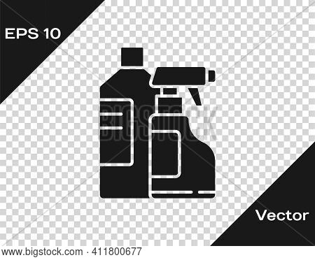 Black Plastic Bottles For Laundry Detergent, Bleach, Dishwashing Liquid Or Another Cleaning Agent Ic