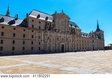 Royal Monastery Of El Escorial. Huge Palace On The Outskirts Of Madrid, Former Residence Of Kings Of