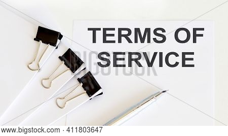 Terms Of Servicewritten On White Page, Business
