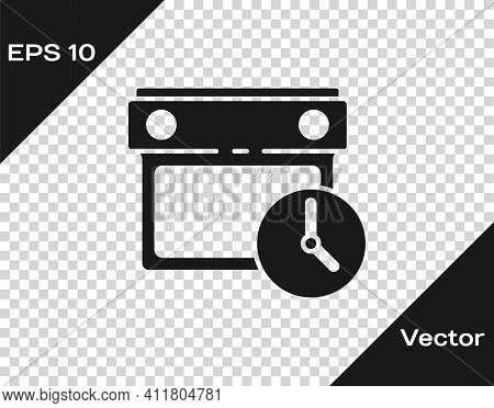 Black Calendar And Clock Icon Isolated On Transparent Background. Schedule, Appointment, Organizer,