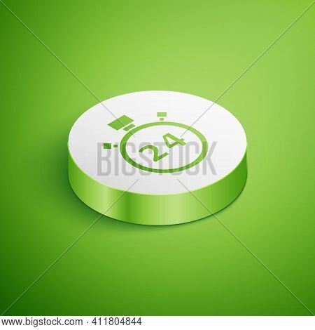 Isometric Stopwatch 24 Hours Icon Isolated On Green Background. All Day Cyclic Icon. 24 Hours Servic