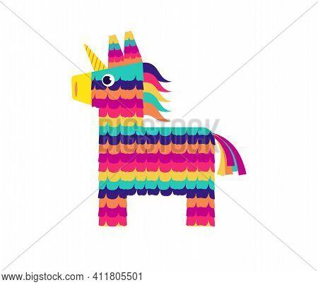 Pinata Horse, Cute Unicorn. Viva Mexico, Independence Day, Cinco De Mayo. Fiesta Colorful Illustrati