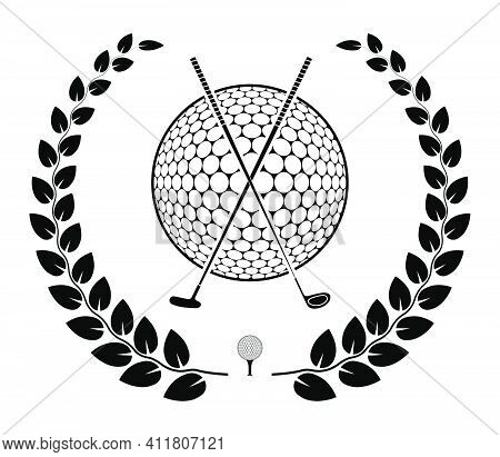Emblem Of Crossed Sports Golf Clubs And Ball With Laurel Wreath For Competition. Sports Equipment Sy