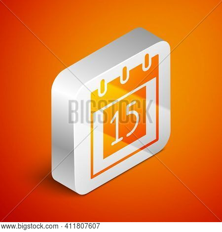 Isometric Happy Independence Day India Icon Isolated On Orange Background. Flyer Design For 15th Aug