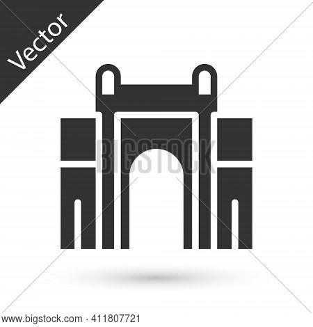 Grey India Gate In New Delhi, India Icon Isolated On White Background. Gate Way Of India Mumbai. Vec