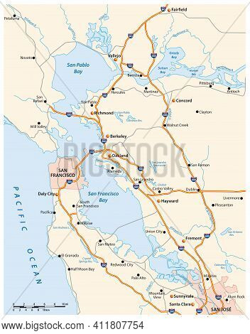 Vector Road Map Of Californias San Francisco Bay Area