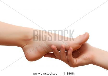 Man'S Hand And Woman'S Feet