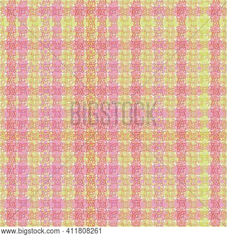 Cottagecore Floral Plaid Seamless Vector Pattern In Pink And Yellow. Girly Surface Print Design For