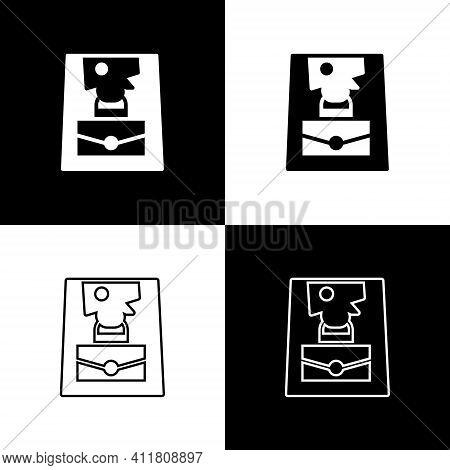 Set Handbag Icon Isolated On Black And White Background. Female Handbag Sign. Glamour Casual Baggage