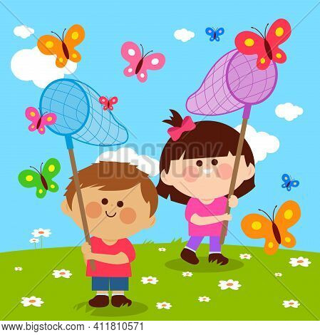 Children With Butterfly Nets Catching Butterflies. Vector Illustration