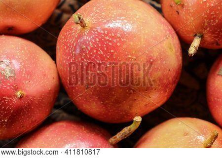 Passion Fruit. Close Up Exotic Maracuja, Granadilla, Maracuya, Parcha, Passiflora Edulis. Macro Exot