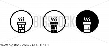 Chimney Icon, Brick Chimney Icons Button, Vector, Sign, Symbol, Logo, Illustration, Editable Stroke,