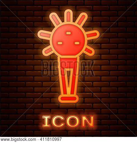 Glowing Neon Mace, Symbol Of Ukrainian National Power Icon Isolated On Brick Wall Background. Tradit