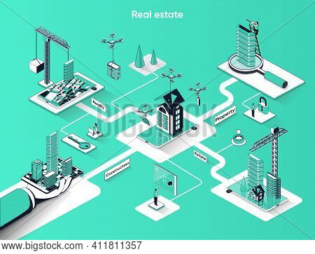 Real Estate Isometric Web Banner. Construction Property Company Flat Isometry Concept. Building Skys