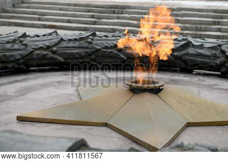 Eternal Flame From The Forged Star Monument In Honor Of Fallen Soldiers. Eternal Peace. World War Ii