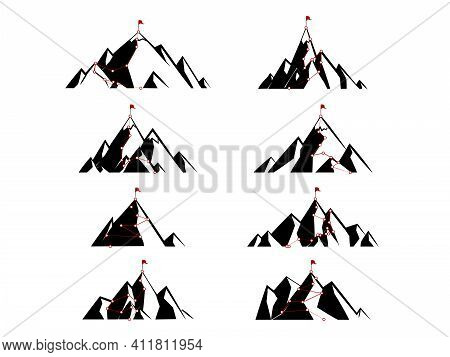 Route To The Top Of Mountain. Isolated On Gray Background. Mountain Climbing Peak. Way Path Infograp